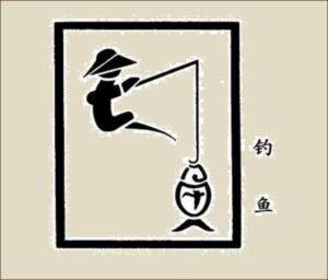 Иероглиф - рыбачить